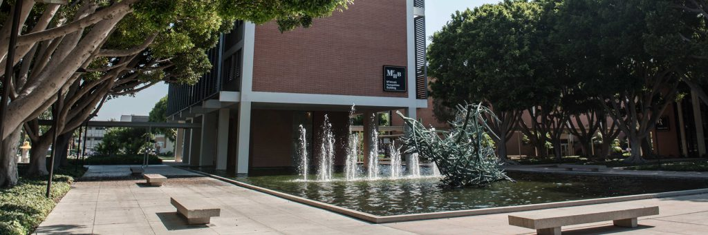 The fountain in front of the McIntosh Building at CSULB