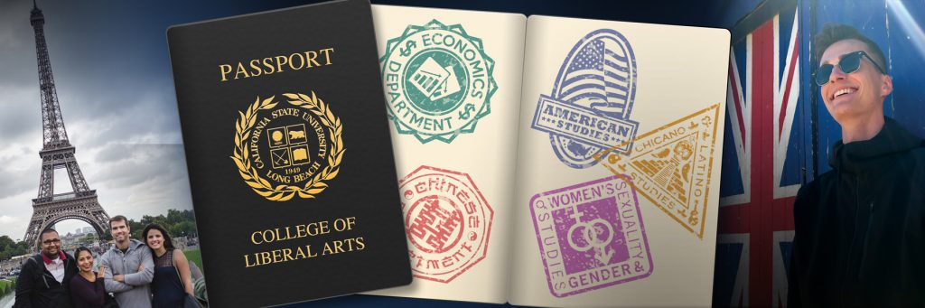 Study Abroad students and passport with stamps of Liberal Arts Departments