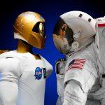 Nasa robot looking at an astronaut