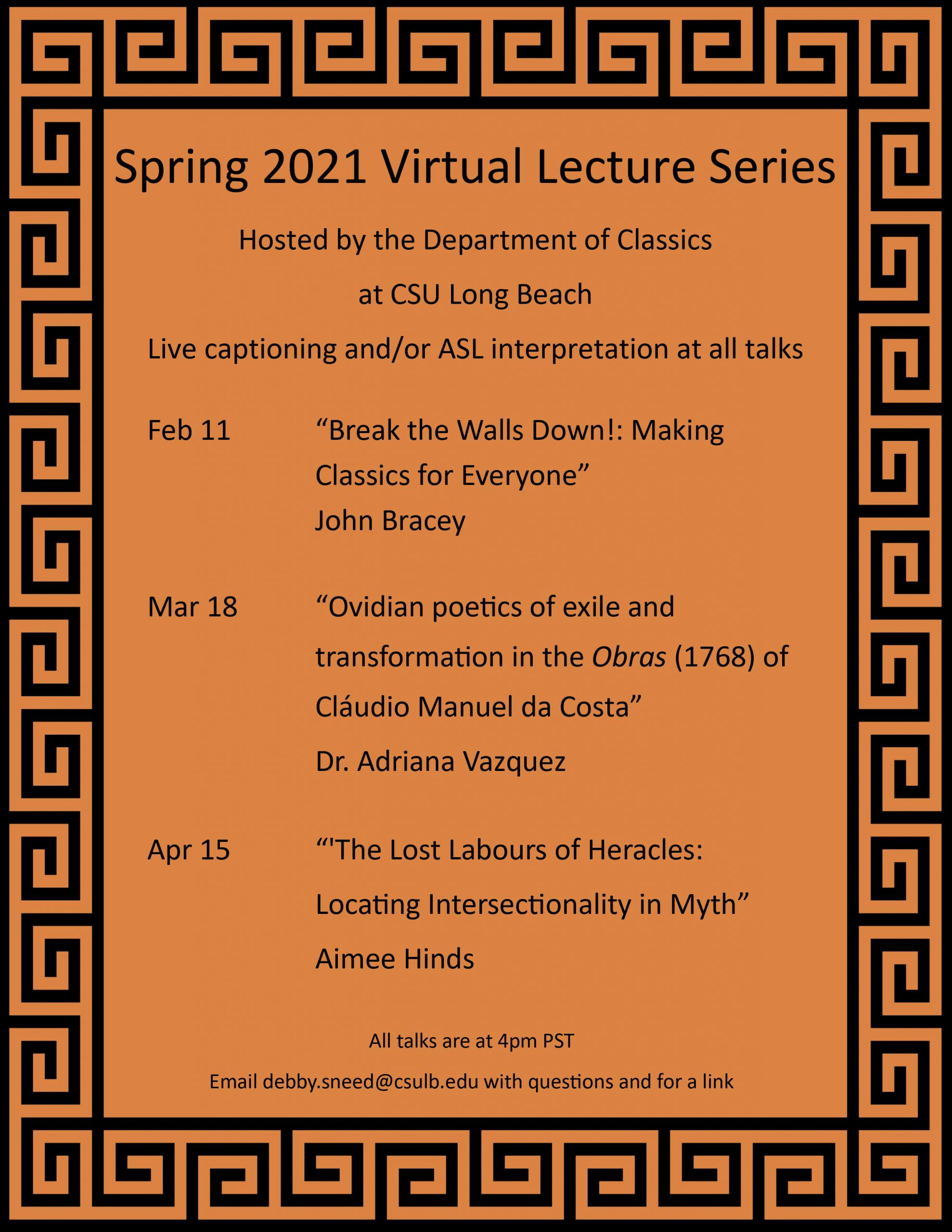 """Spring 2021 Lecture Series – """"'Ovidian poetics of exile and"""