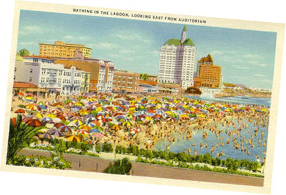 Picture postcard of Long Beach with buildings