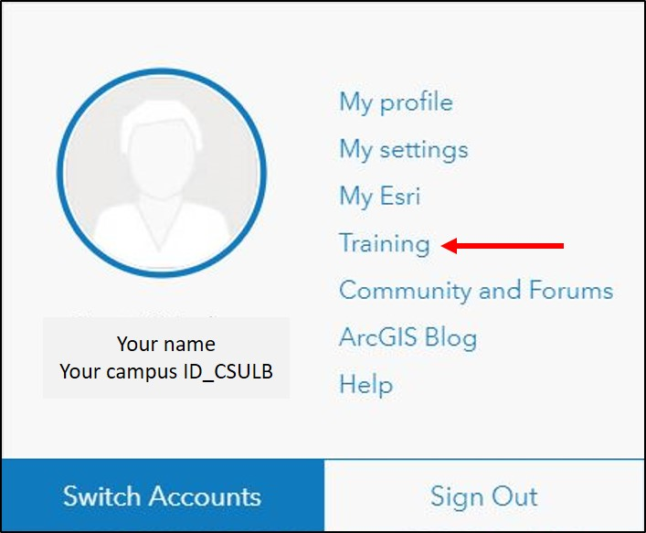 Screenshot of Esri Academy training access link