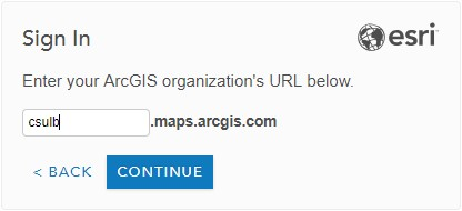 Screenshot of CSULB's ArcGIS organization URL