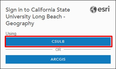 Screenshot of final step of CSULB ArcGIS Online organizational sign-in