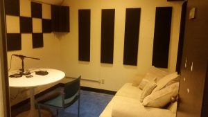 Recording room with a Marantz recorder and Shure microphone in PSY 438D