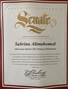 An image of Dr. Sabrina Alimahomed-Wilson Woman of Distinction Award.