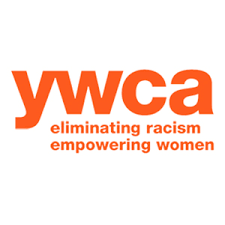 The image background is white and the words in orange state ywca, eliminating racism empowering women.