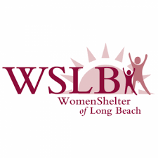 The background is white and the letters in violet state WSLB, women shelter of Long Beach with a violet sun in the background and two figures with their hands in the air (one taller than the other).