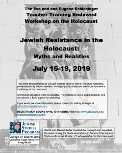 2019 Schlesinger Teacher Training Workshop on the Holocaust, July 15-19
