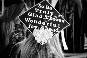 mortarboard art - So be truly glad there's wonderful joy ahead in black and white