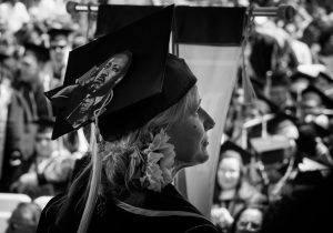 Mortarboard art - Martin Luther King Jr. in black and white