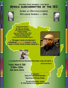 African Distinguished Speaker Series--Dr Maulana Karenga