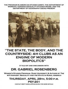 The State, The Body, and the Countryside: 4-H Clubs as an Engine of Modern Biopolitics