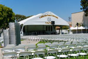 Graduation tent and chairs setup