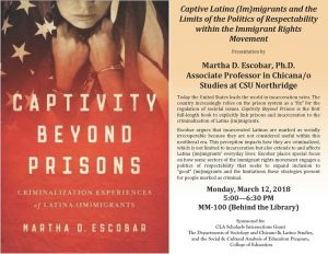 Captive Latina (Im)migrants and the Limits of the Politics of Respectability within the Immigrant Rights Movement Presentation by Martha D. Escobar, Ph.D. Associate Profession in Chicana/o Studies at CSU Northridge
