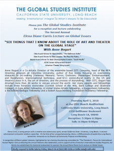 """SIX THINGS THAT I KNOW ABOUT THE ROLE OF ART AND THEATER ON THE GLOBAL STAGE"" With Anne Bogart"