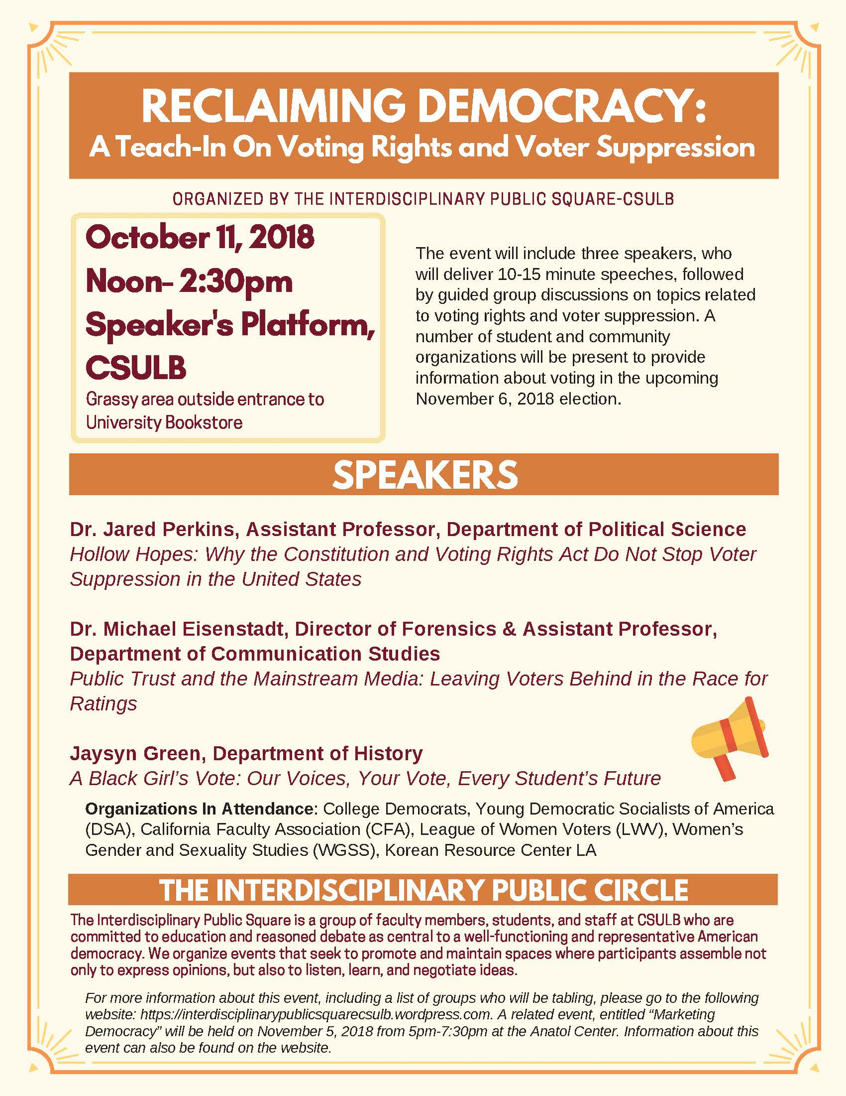 """TEACH-IN: """"RECLAIMING DEMOCRACY: VOTER RIGHTS AND VOTER"""