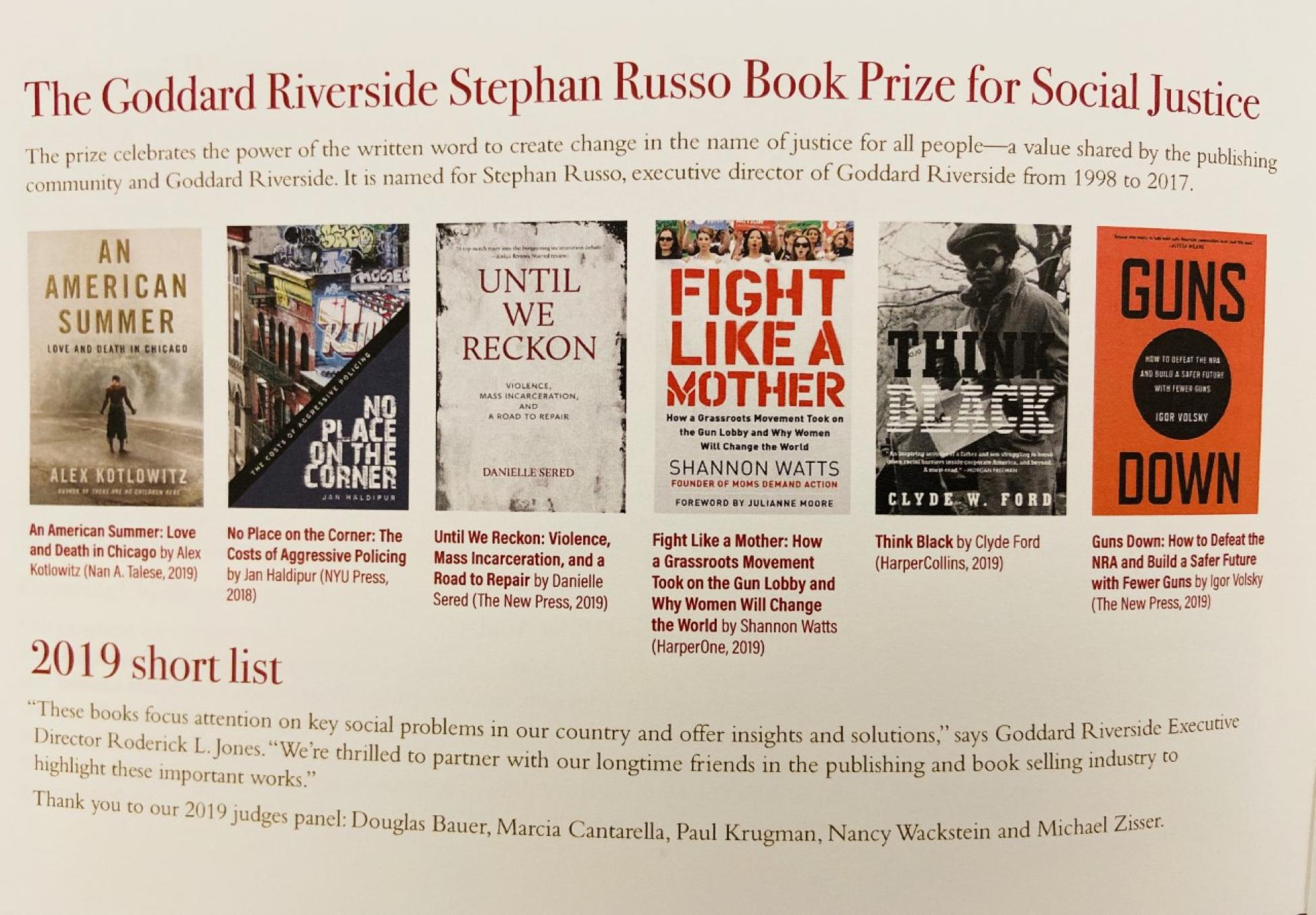 Goddard Riverside Stephan Russo Book Prize finalists